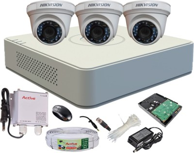 Hikvision DS-7104HGHI-F1 Mini 4CH Dvr, 3(DS-2CE56C2T-IR) Dome Camera (With Mouse, 500GB HDD, Bnc&Dc Connectors,Power Supply,Cable)