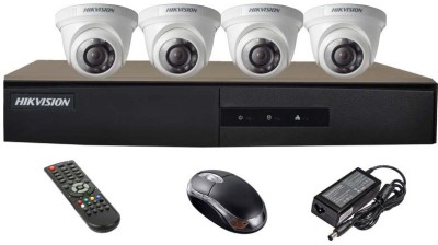Hikvision DS-7204HGHI-E1 4CH Dvr, 4(DS-2CE56COT-IR) Dome Cameras (with Mouse,Remote)