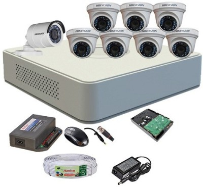 Hik Vision HDTVI Full Combo, Turbo IRF Dome Camera 7Pcs & Bullet Camera 1Pcs + Active Cable + 1TB HDD + F1 Mini DVR. 8 Channel Home Security Camera(1 TB) at flipkart