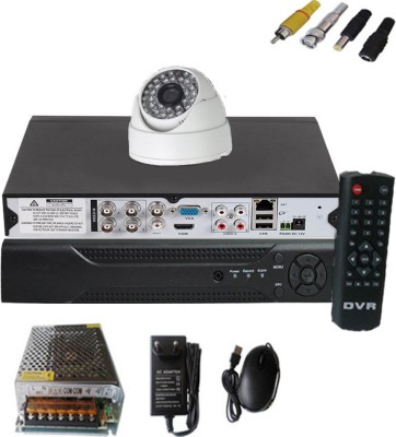 Easy-1-CCTV-Dome-camera-&-4-channel-DVR-kit-Home-Security-Camera-(With-Power-Supply,Software-CD,Mouse)