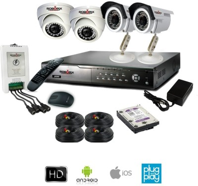ROBORIX 2B2D-SD800WK 4-Channel Dvr, 2(800 TVL) Dome, 2(800TVL) Bullet CCTV Cameras (With Accessories)