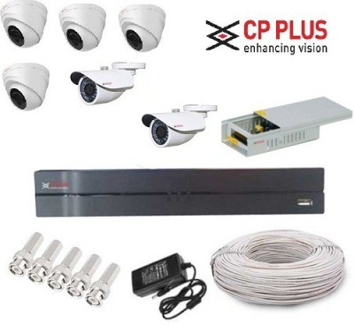 CP PLUS CP-8-4D-2B-PCW 8-Channel Dvr, 4 HD Dome, 2 HD Bullet Cameras (With Accessories)
