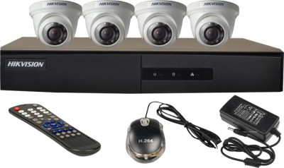 Hikvision 4CH-DS-7204HGHI-E1 Turbo 4 Channel Dvr 4 Dome CCTV Cameras (With Mouse, Remote, Power Adopter)