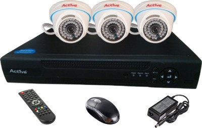 Active Feel Free Life CCTV COMBO KIT, 36IR Dome Camera 3Pcs + Analog & AHD 4 Channel Home Security Camera