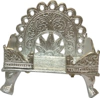 SwadesiBuyzzar White Singhasan for Placing God Idols 13x9x13 cm Brass Home Temple(Height: 13 cm)