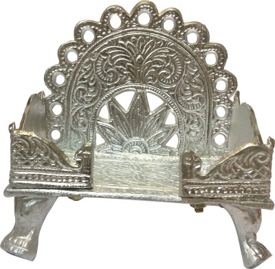 swadesibuyzzar White Singhasan for Placing God Idols 13x9x13 cm Brass Home Temple