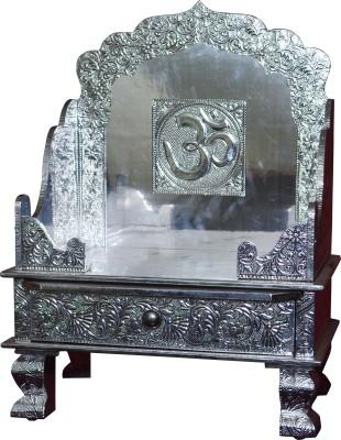 Pavitra Mandir 15 x 9 Aluminium Singhasan with Tray & Drawer Wooden, Aluminium Home Temple
