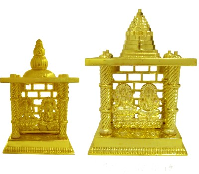 Heaven Decor Laxmi Ganesh Big and Small Combo Pack Gold Plated Home Temple(Height: 13.5 cm)