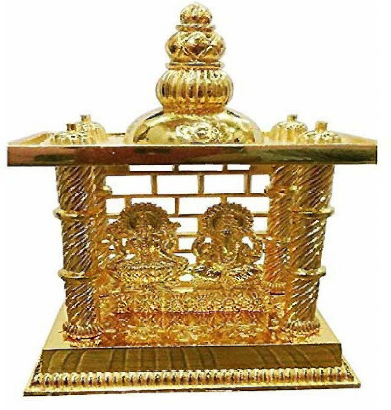 View Shree Krishna Handicrafts And Gallery Laxmi Ganesh Mandir Brass Gold Plated For Puja and Gift Brass Home Temple(Height: 15 cm) Furniture (Shree Krishna Handicrafts And Gallery)