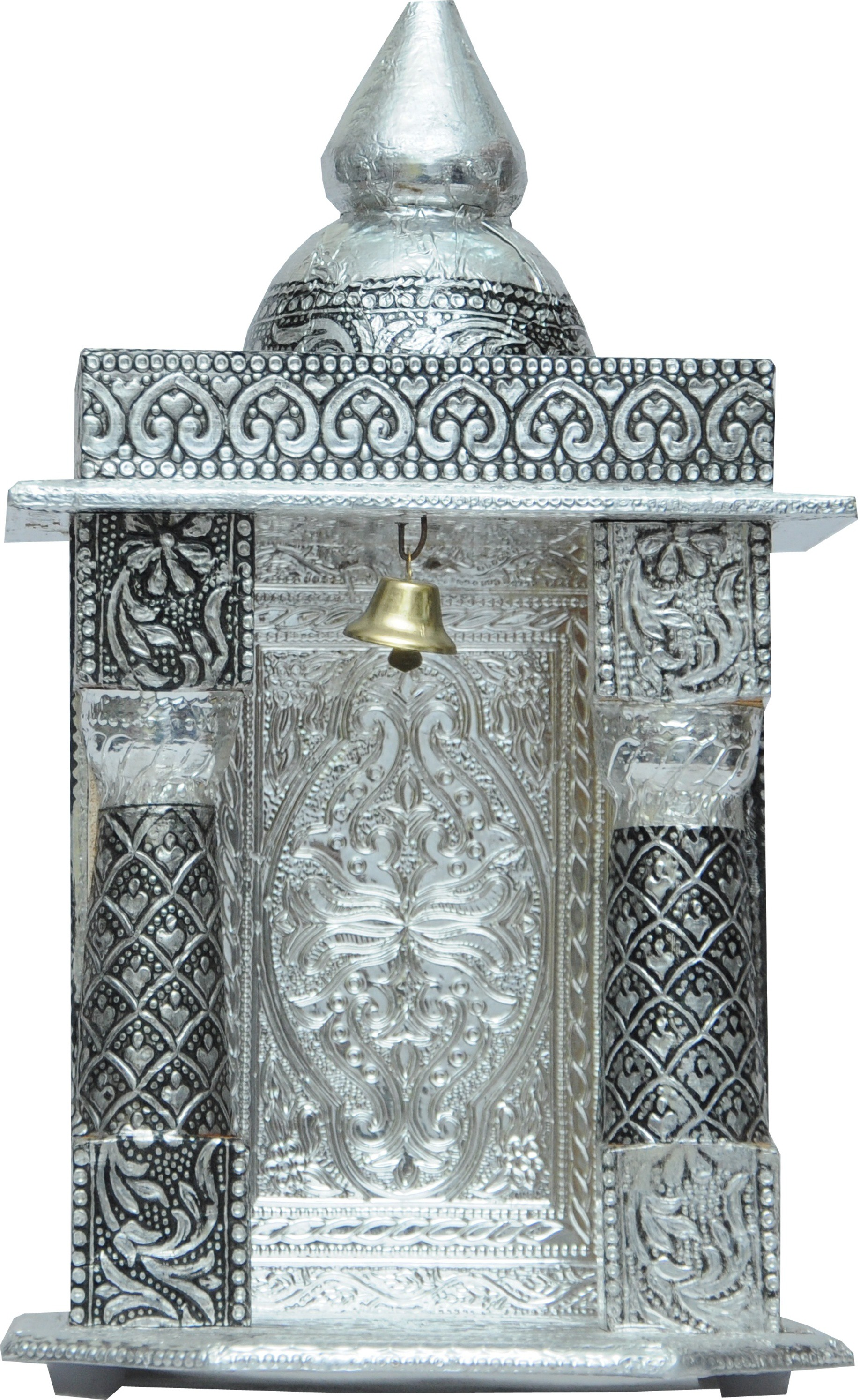 Pavitra Mandir 5 x 4 Small Oxidize Carving Temple Wooden, Aluminium Home Temple class=