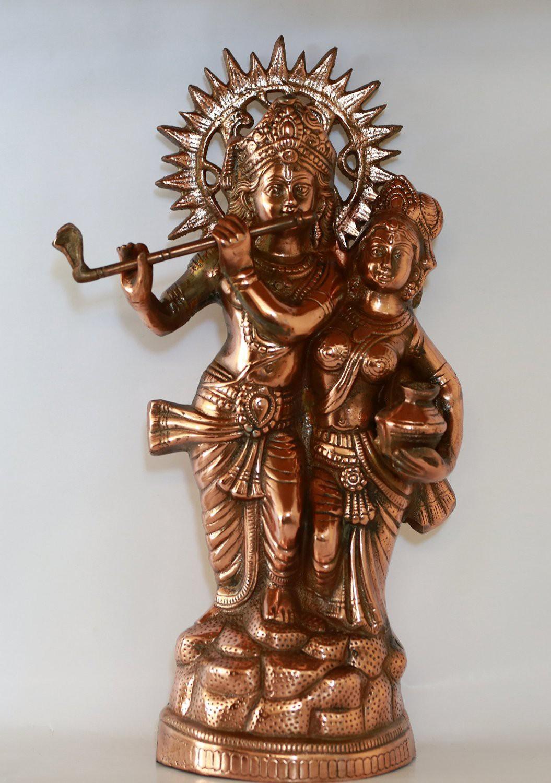 IndiaDeals4u Radha krishna Pot(1Nos) Aluminium Home Temple
