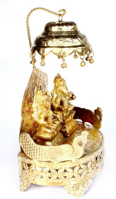 SKM Large With Chatri & Ganesha Laksmi Idols Brass Home Temple