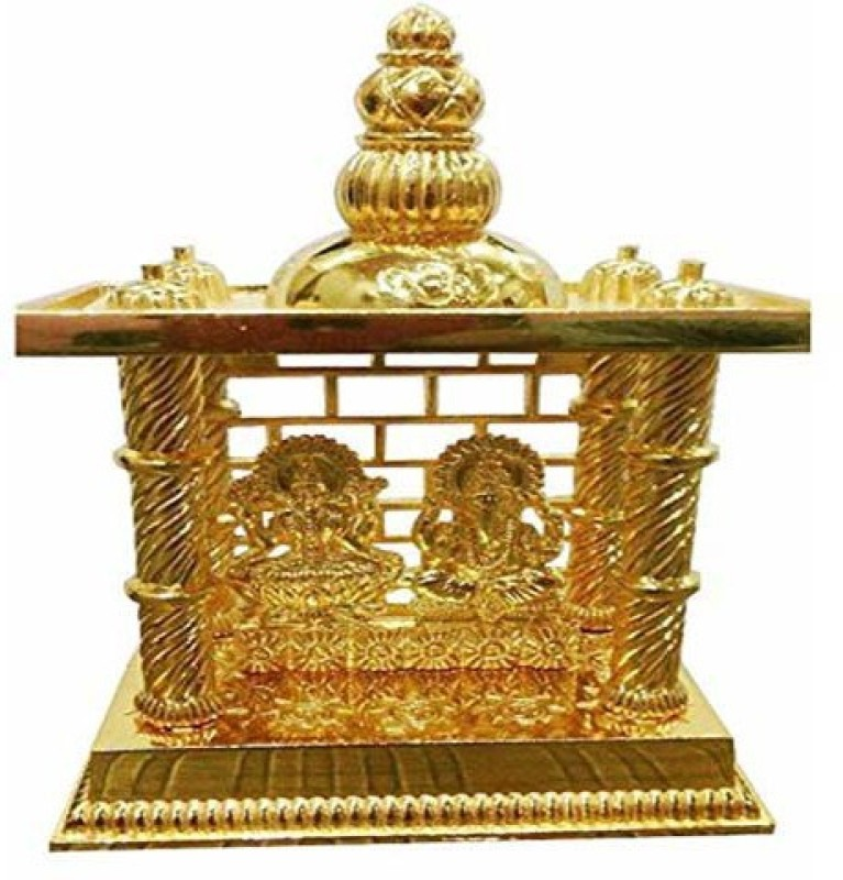 Shree Krishna Handicrafts And Gallery Laxmi Ganesh Mandir Gold Plated For Puja and Gift Brass Home Temple(Height: 16.5 cm)