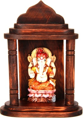 Adaa Lord Ganesh Sitting on Lotus Polyresin Home Temple