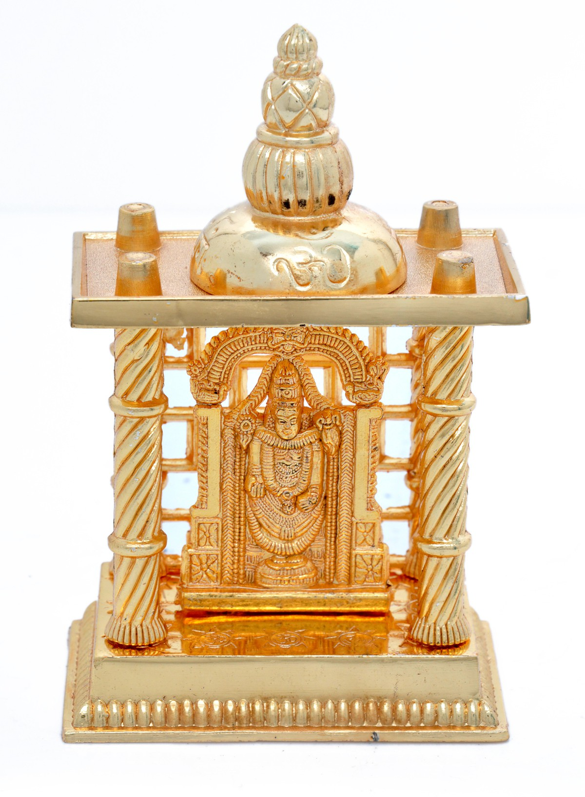 Hashcart Tirupati Balaji Mandir in Brass (4.5 inch) Aluminium Home Temple class=