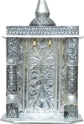 Pavitra Mandir 7 x 4 Small Oxidize Carving Temple Wooden, Aluminium Home Temple