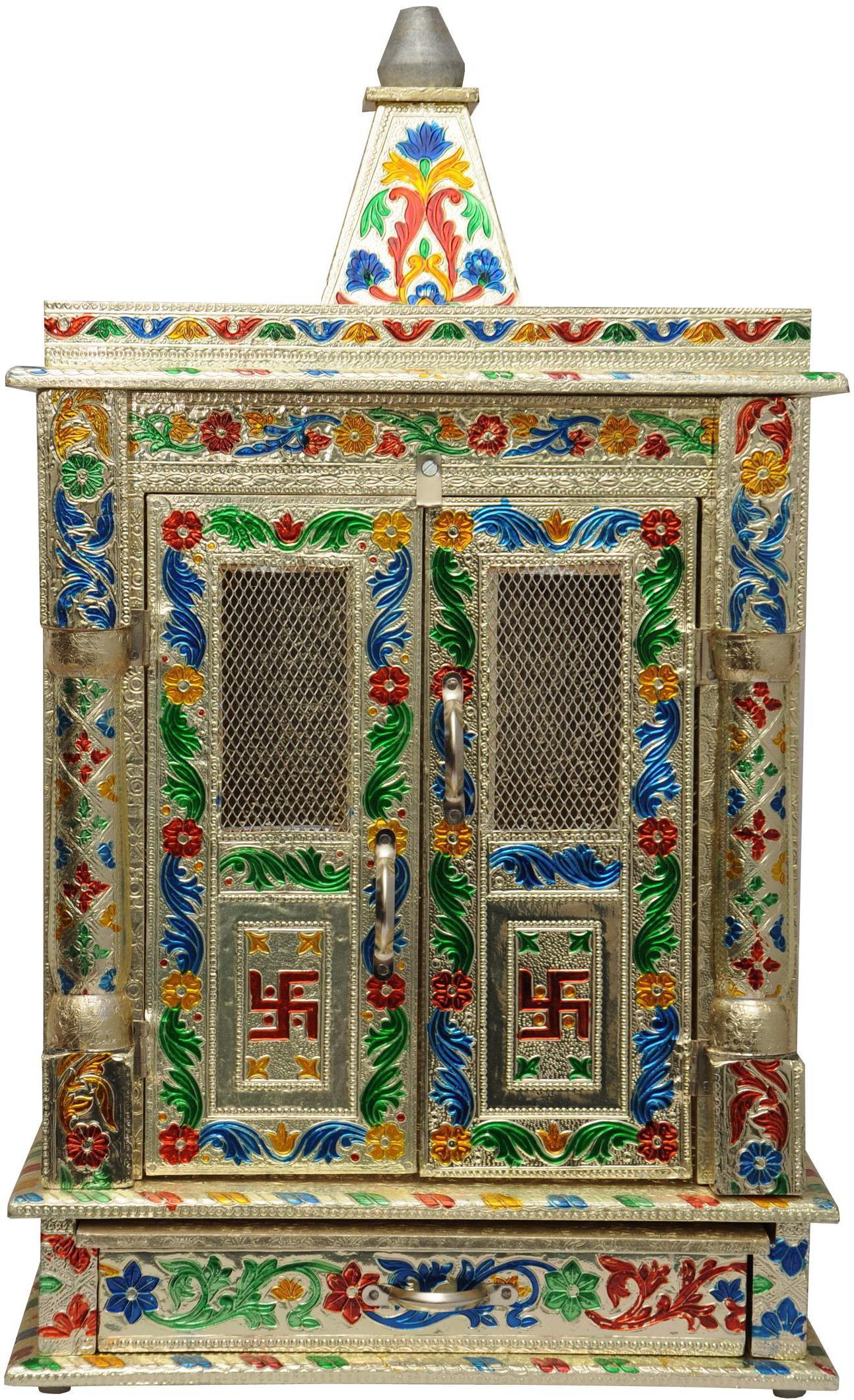View Pavitra Mandir 12 x 6 Door Mina Work Carving Wooden, Aluminium Home Temple(Height: 15 cm) Furniture (Pavitra Mandir)