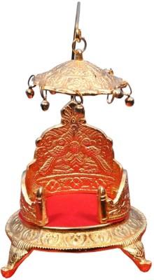 Crafts Paradise White Metal Gold finish medium Size Round Singhasan Aluminium Home Temple