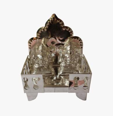 Dekor World Laxmi Ganesh on Singhasan Brass Home Temple