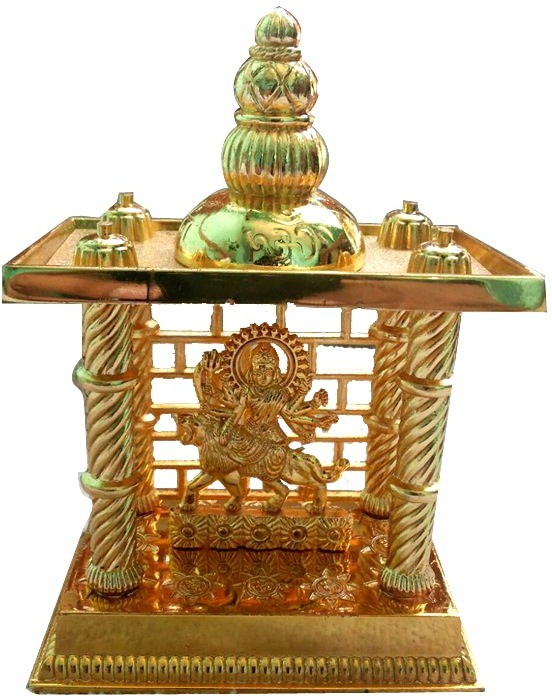 View Shree Krishna Handicrafts And Gallery Maa Durga Mandir Gold Plated For Puja and Gift Brass Home Temple(Height: 16.5 cm) Furniture (Shree Krishna Handicrafts And Gallery)