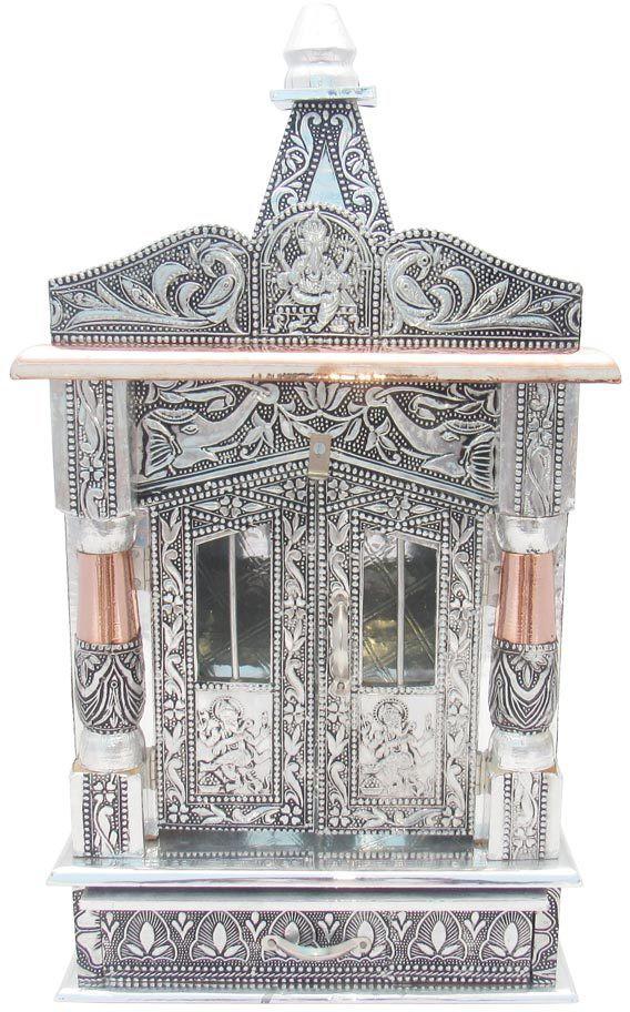 View GoldGiftIdeas Mini Premium Wooden Alluminium Mandir Copper, Aluminium, Wooden Home Temple(Height: 50 cm) Furniture (GoldGiftIdeas)
