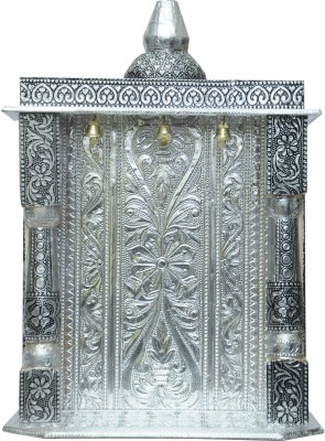 Pavitra Mandir 9 x 4 Small Oxidize Carving Temple Wooden, Aluminium Home Temple