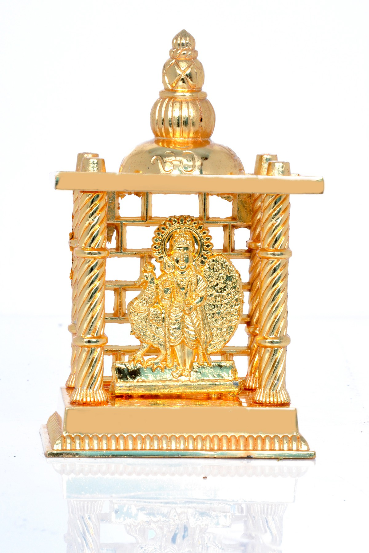 Hashcart Murugan Kartikeye idol in Golden Finish (4.5 inch) Aluminium Home Temple