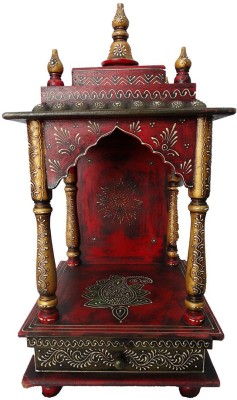 Aamore Decor Red Rajasthani Mandir Wooden Home Temple