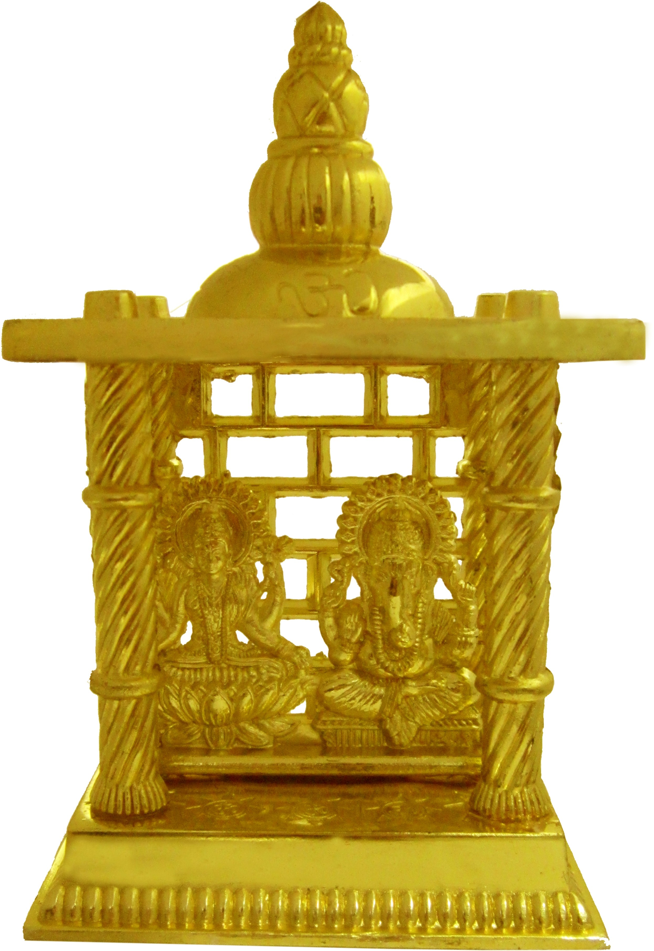 Heaven Decor Gold Plated Laxmi Ganesh Small Iron Home Temple