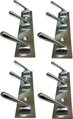 DOCOSS Pack Of 4- Pin Cloth/keys Hanger Robe Hook 3 - Pronged Hook Rail