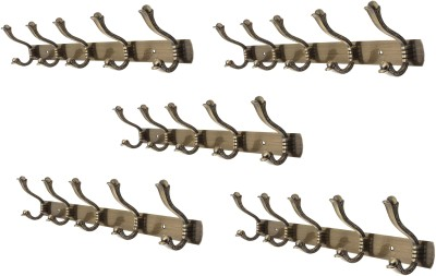 Dolphy Set of 5 Towel Clothes Wall Hanger 5 - Pronged Hook Rail