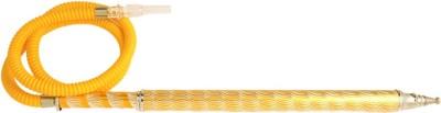 Arabian Nights Fiber, Plastic, Stainless Steel, Wooden Yellow Hookah Hose