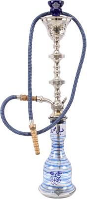 "IndianArtVilla 30.0"" Blue Arabic Design Hookah Shisha Chillum with Pure Brass Neck Pipe & Vessel Design Vase   Hotel Restaurant Bar Home Décor Antiqu available at Flipkart for Rs.4950"