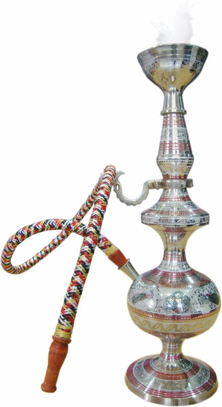 HMSTEELS 13.38 inch Brass Hookah(Red, Silver)