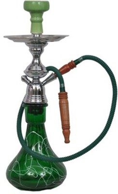 Triston Home Lrge Green D-Base 21 inch Glass, Aluminium Hookah