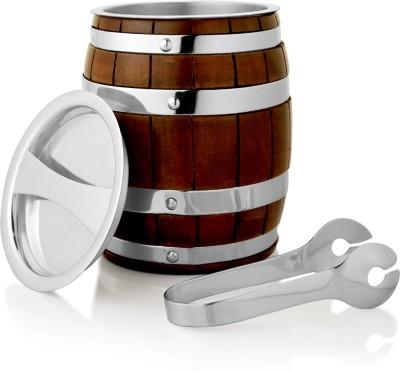 Episode Keg Ice Bucket Brass, Silver Plated, Wooden Ice Bucket(Silver 2.5 L)