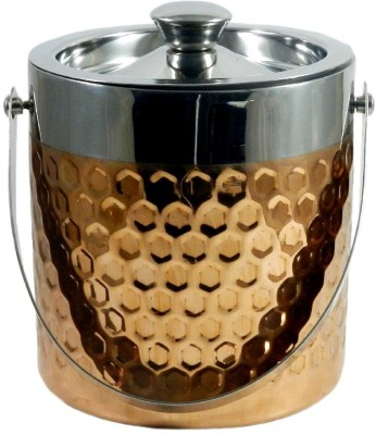 Gaarv Hexagon Punch Copper Plated Stainless Steel Ice Bucket(Brown 1.9 L)