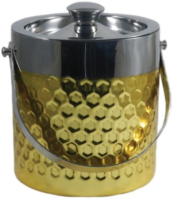 Gaarv Hexagon Punch Gold Plated Stainless Steel Ice Bucket(Gold 1.9 L)