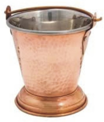 Veda Home & Lifestyle Copper Steel Dal Serving Bucket Large Copper Ice Bucket(Brown 1 L)