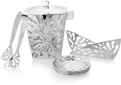 Episode Zinnia Bar Collateral Brass, Silver Plated, Wooden Ice Bucket(Silver 3 L)