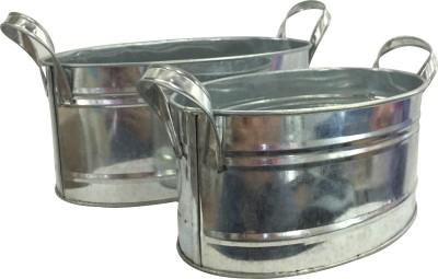 EZ Life EZ-LIFE Tin Tub/Server - Silver Steel Ice Bucket(Silver)