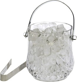 Rich Craft Clear Glass New Design Ice Bucket With Handle & Tongs -A01 Glass Ice Bucket(Clear 1.05 L)