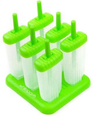WhitePavo 6 Pcs Ice Popsicle Mold, Kulfi Maker / Stick & Cream & Candy Mould Green Polypropylene Ice Cube Tray Set