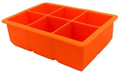PuTwo 6 Partitions Cube Ice Pop Molds Large Ice Cube Tray Xl 2Inch Super Giant Block Cube Trays Orange