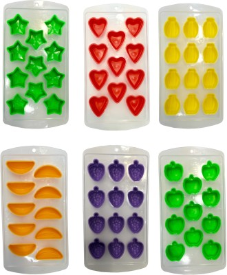 Funtabulas Multicolor Plastic, Silicone Ice Cube Tray(Pack of 6)