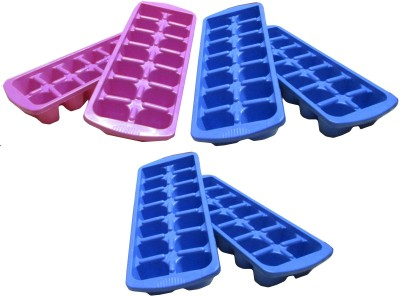 Goldcave Multicolor Ice Trays Set of 6 Multicolor Plastic Ice Cube Tray