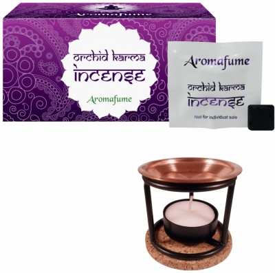 Aromafume Orchid Karma Incense (Small) & Exotic Incense Diffuser Iron Incense Holder Set