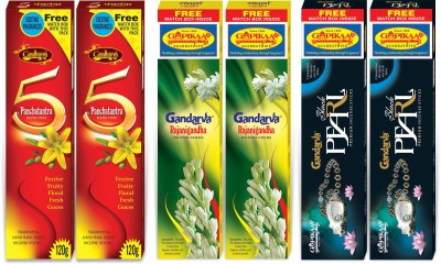 Gopikaa Black Pearl, Rajinigandha & Panchatantra Assorted Combo Pack (Pack of - 6) (Free match box inside) Assorted Incense Sticks