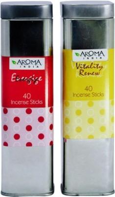 Aroma India Scented Incense Sticks in Square Tin Energise & Vitality Renew Incense Sticks