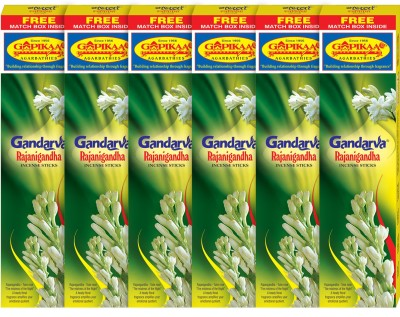 Gopikaa Rajanigandha (Pack of - 6) (Free match box inside) Tube Rose Incense Sticks